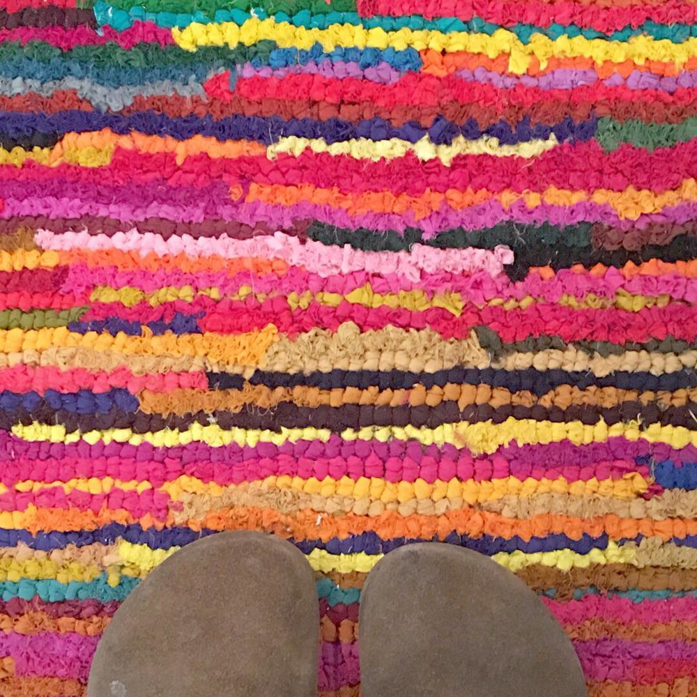 Colorful Rag Rug for the Office - via www.cottagemagpie.com
