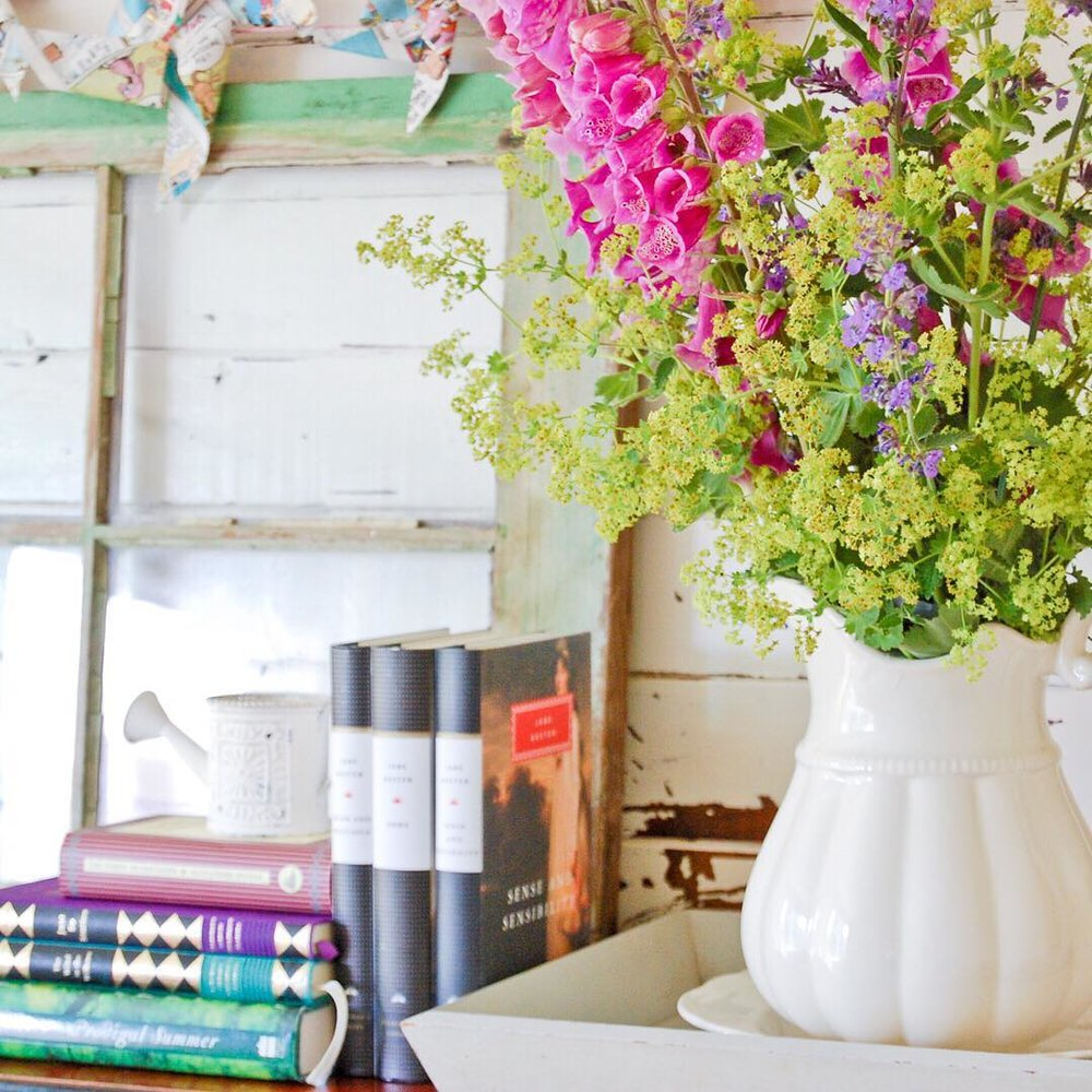 Foxgloves and Books on the Piano - via www.cottagemagpie.com