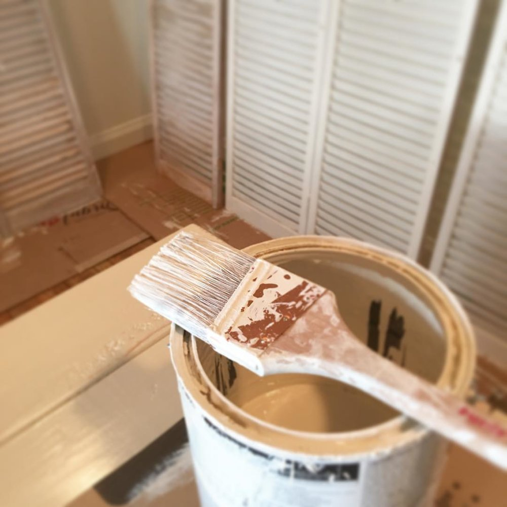 Painting Shutters in the Shared Office Space - via www.cottagemagpie.com