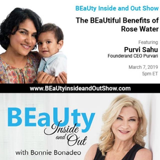 TODAY *LIVE* AT 5PM EST (2PM PST) our founder and CEO, Purvi Sahu will be talking with @bonniebonadeo on @beautyinsideandoutshow ☝️click our bio link to listen or view *LIVE* . @voiceamericatalkradio #purvari #womenownedbusiness #purebeautyglobalawards2019