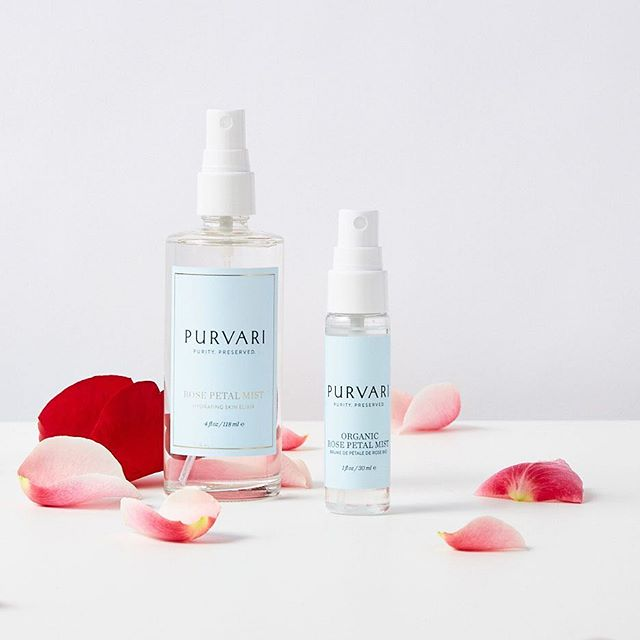 Festival season is here.✨Are you ready? Get prepared by picking up a gift set of Rose Petal Mist. The larger bottle lets you prep at home and the mini is for when you hit the road. . . . #purvari #rosewater #farmboundpharmfree #purebeautyglobalawards2019 #coachella