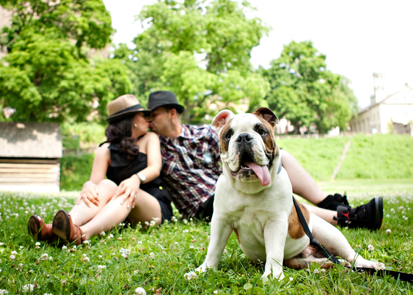 Engagement photo in park with bulldog in front
