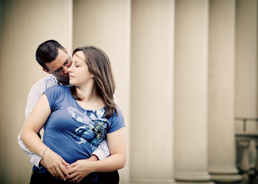 Kiss in front of columns at Philadelphia Waterworks