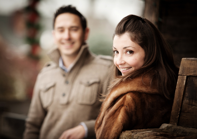 Winter engagement portrait at Peddlers Village in New Hope, PA