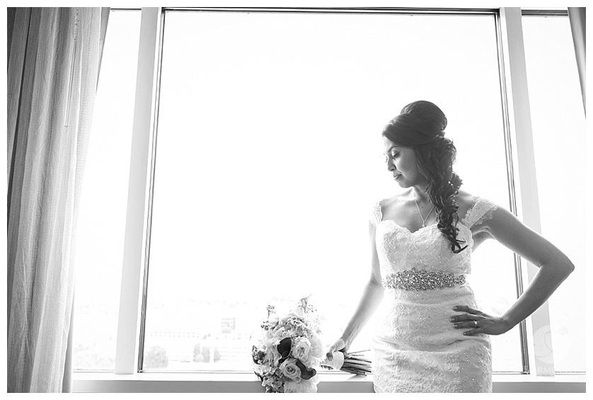Bride by window Appleford Estate