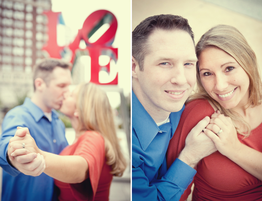 Love Park engagement portraits with vintage toning, Philadelphia, PA