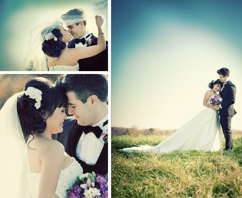 Portraits of Bride and Groom under a veil, close-up portrait with purple flowers, full-length portrait in wide-open grassy area in Yardley, PA