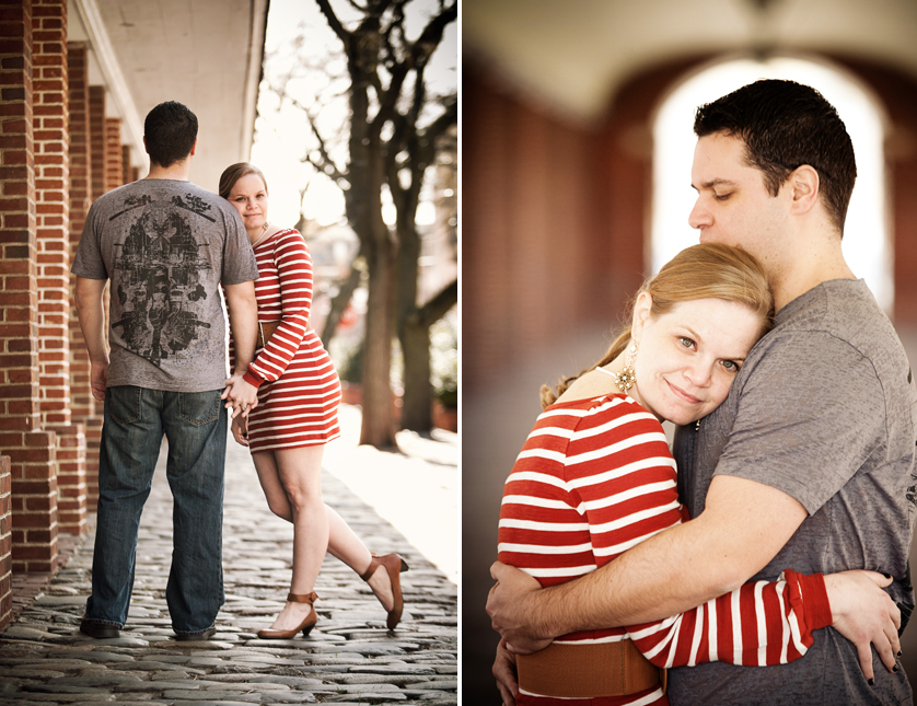 Couple hugging on cobblestone street in South Philadelphia, PA