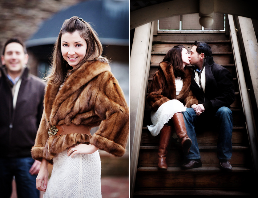 Engagement portraits in Vintage fur coat and boots in New Hope, PA