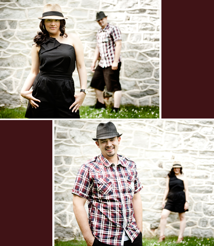 Alternating fashion portraits of woman and man by old stone wall in Bethlehem, PA