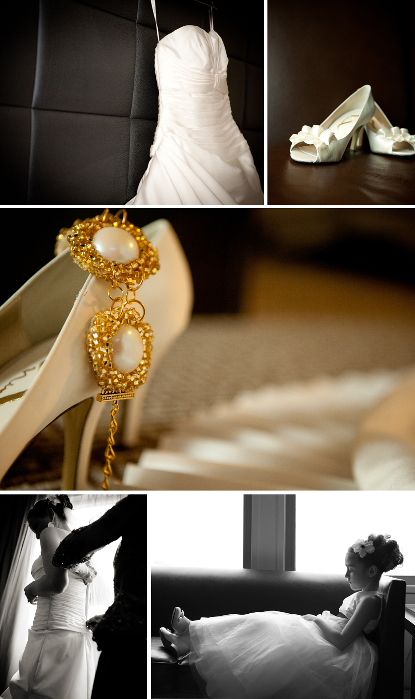 wedding dress, wedding shoes and wedding jewelry detail photos
