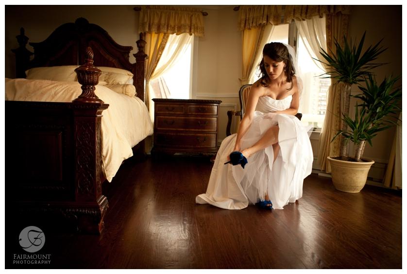 Philadelphia Wedding Photography Beach Wedding Bride Putting Shoes On