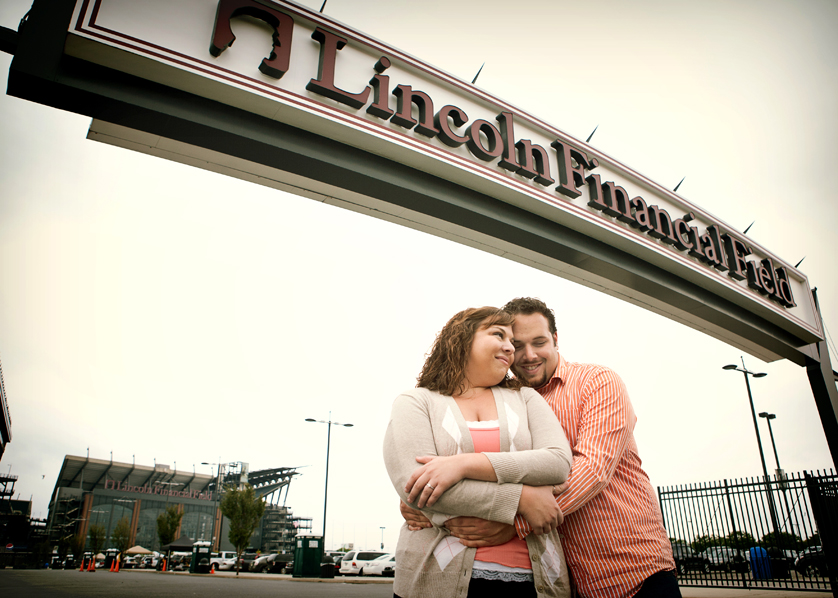 Engagement Portrait in front of the Philadephia Eagles' stadium, South Philadelphia