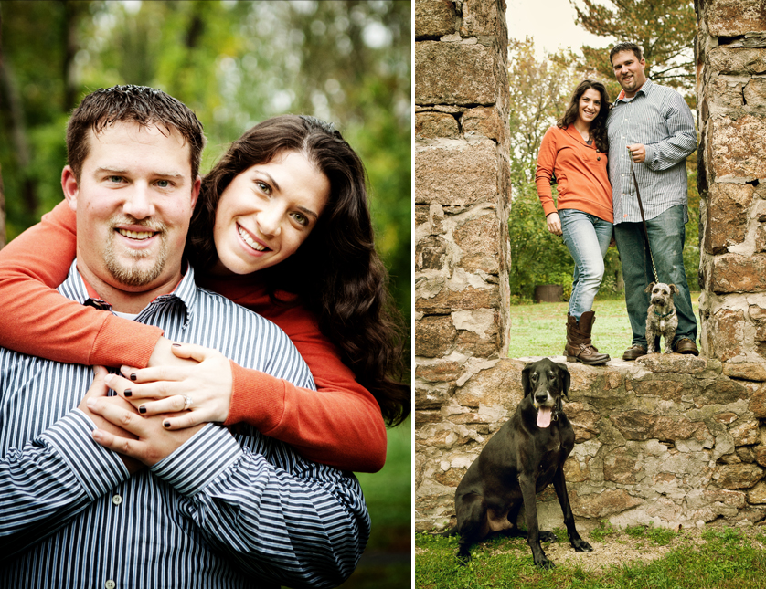 Engagement portraits at Lock Ridge Park in PA with dogs
