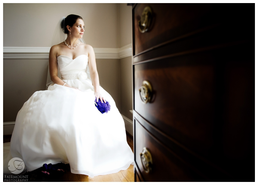 Bride in a-line gown with sweetheart neckline