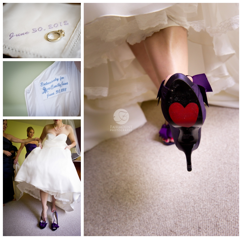 Bride with heart on bottom of her shoe