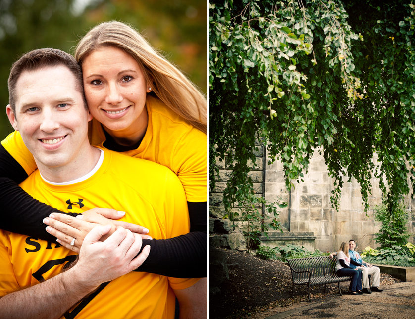 Engagement portrait with flag football jerseys and sitting on bench under big tree in Philadelphia, PA