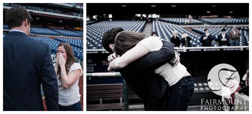 Girlfriend hugs boyfriend at Phillies stadium
