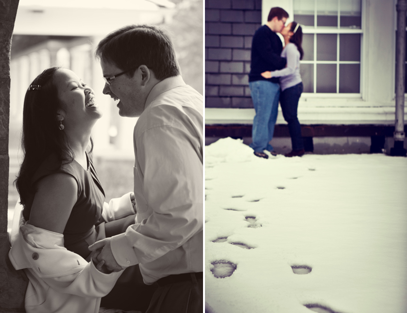 Laughing couple and footprints in snow leading to kissing couple