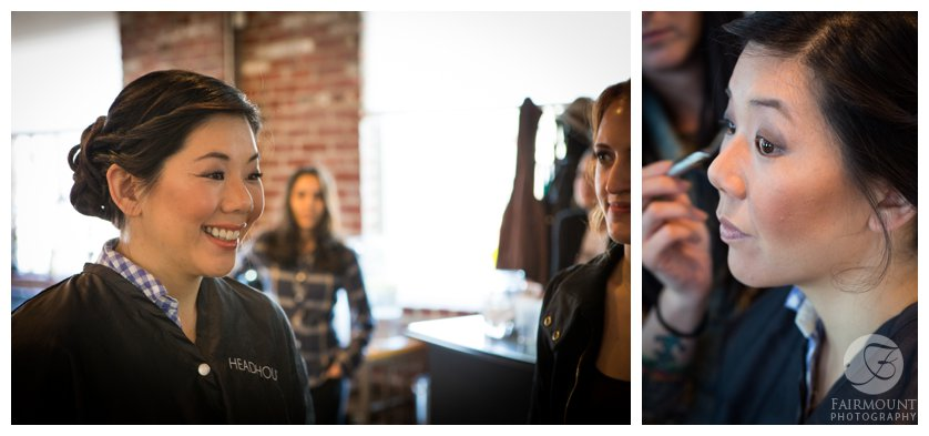 Philadelphia Wedding Photographer Bride Getting Makeup