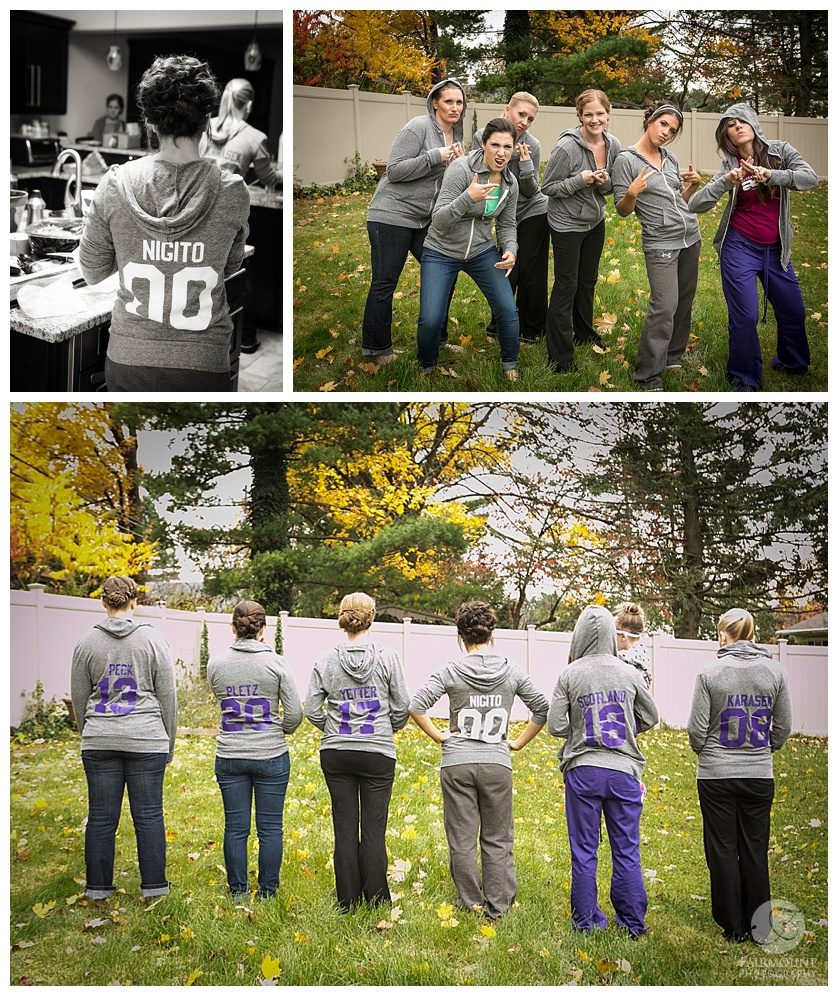 bridesmaids in custom sweatshirts