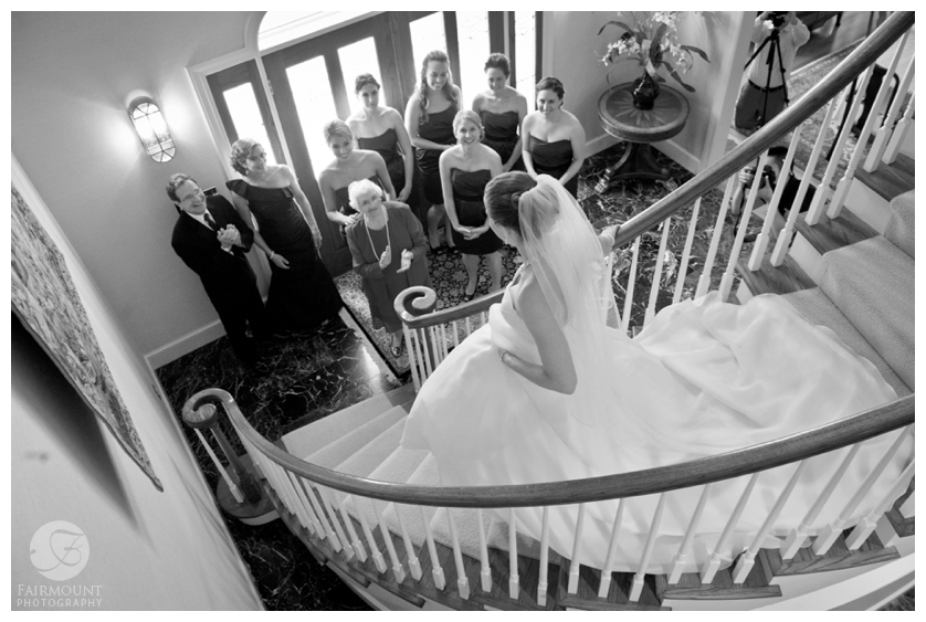 Bride coming downstairs for first time