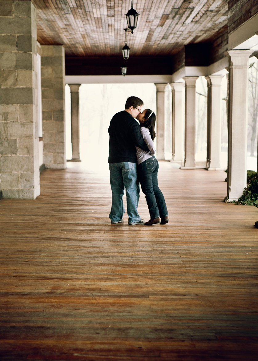 Engagement photo on front porch of dorm at Blair Academy