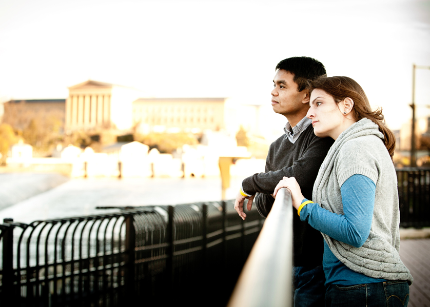 Philadelphia Engagement portrait with Art Museum in background