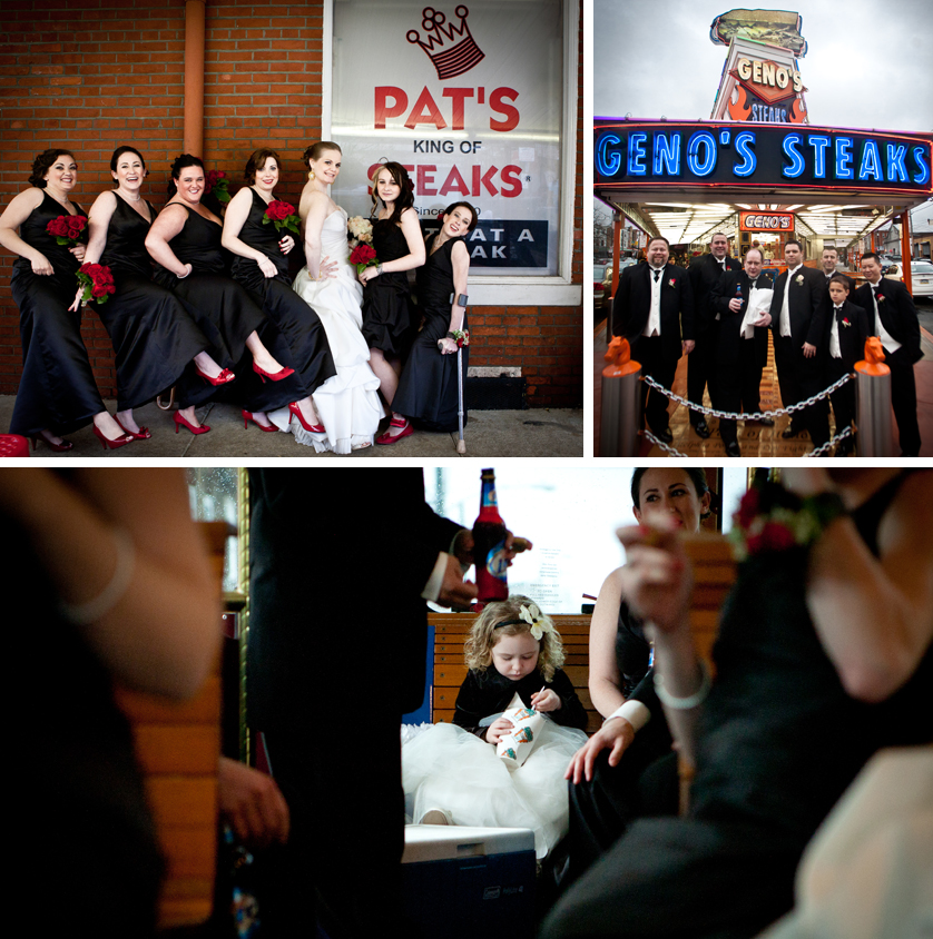 Bridesmaids at Pat's Steaks and Groomsmen at Geno's Steaks in South Philly