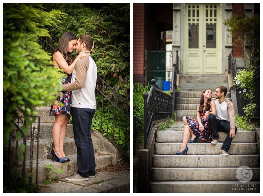 Gray Klein Engagement Philadelphia Stone Steps