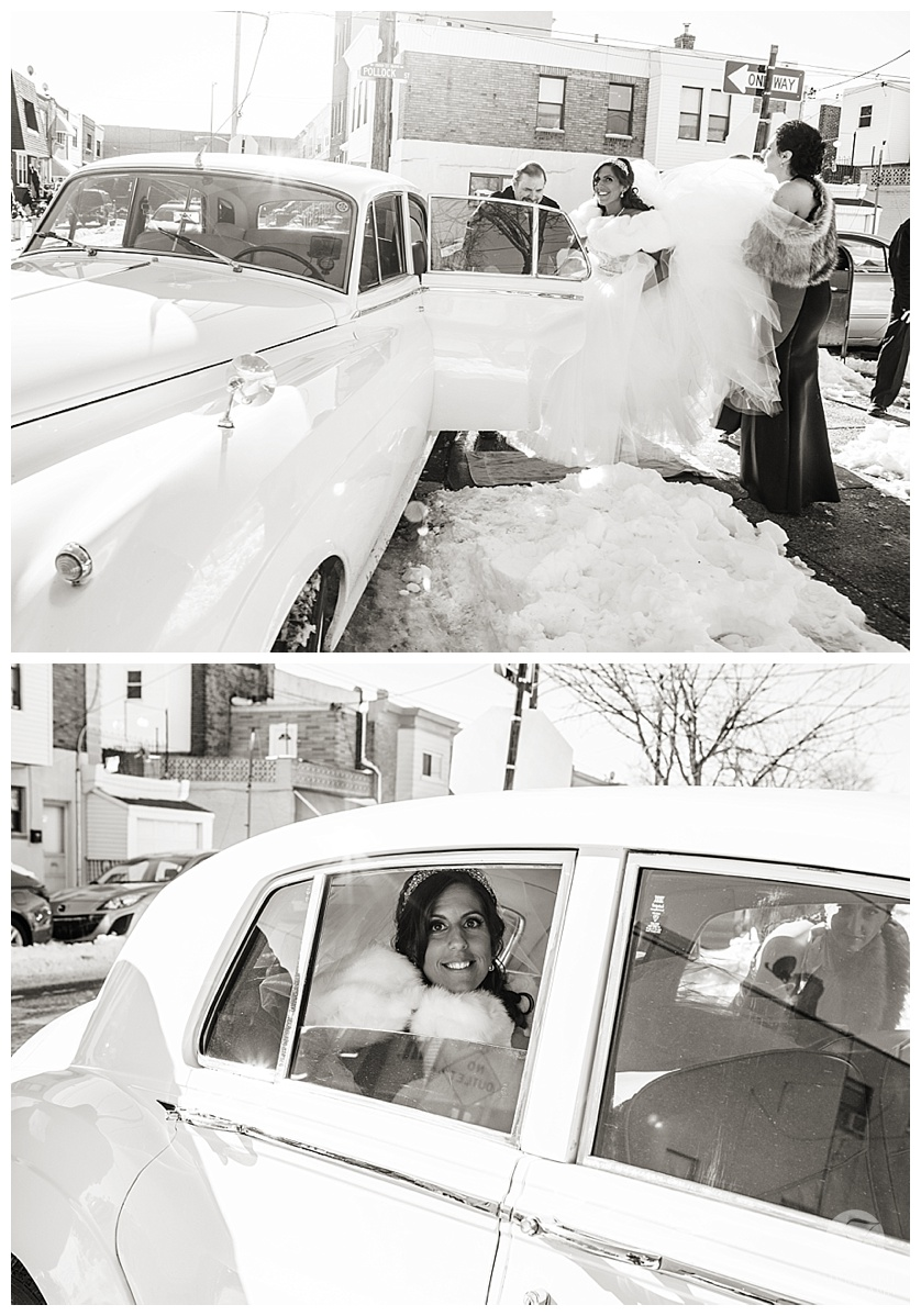 bride in classic car