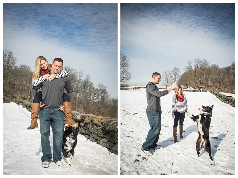 Gina Natale and Paul Worrilow Engagement at Brandywine Creek State Park playing in the snow with their dog