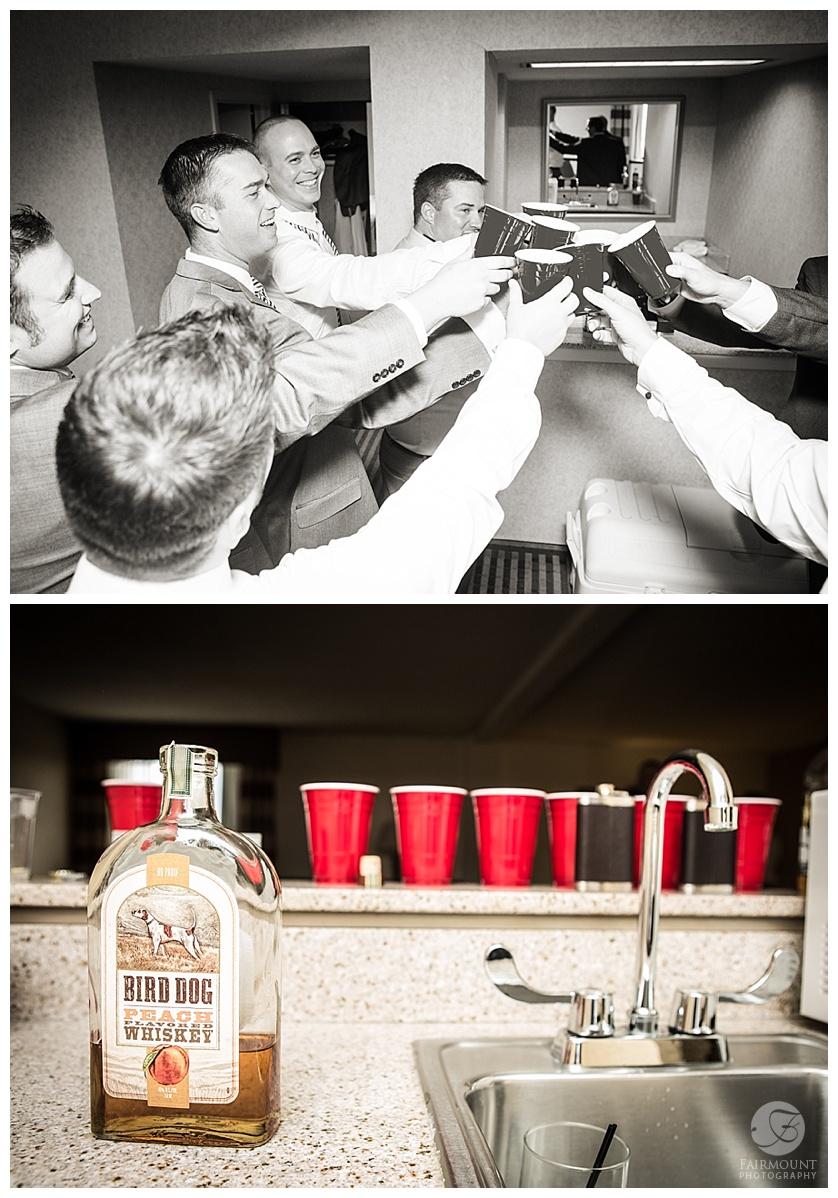 cheers! groomsmen toasting