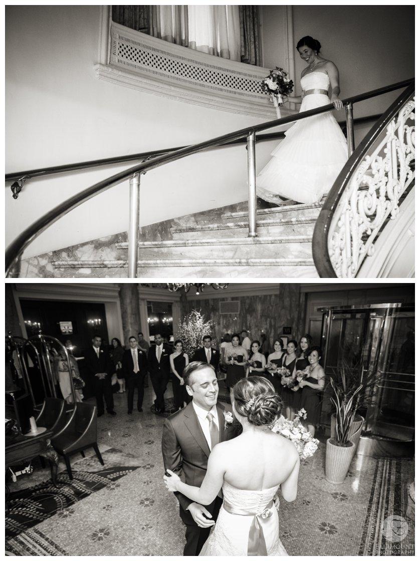 Philadelphia Wedding Photographer First Look inside Hyatt at the Bellevue