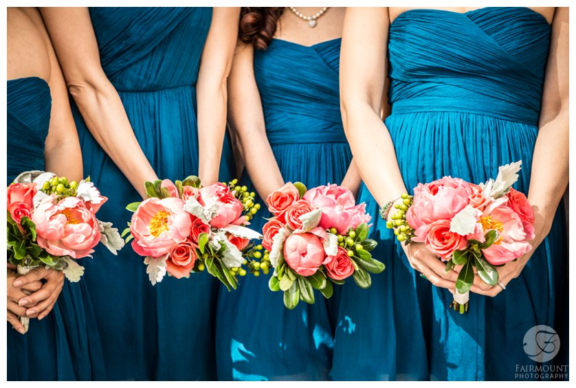 Philadelphia Wedding Photographer Turquoise Bridesmaid Dresses and Pink Flowers