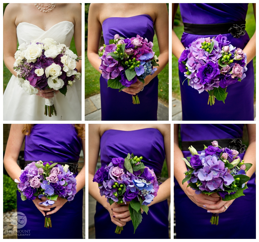 purple and green bridesmaids bouquets with lisianthus and purple roses