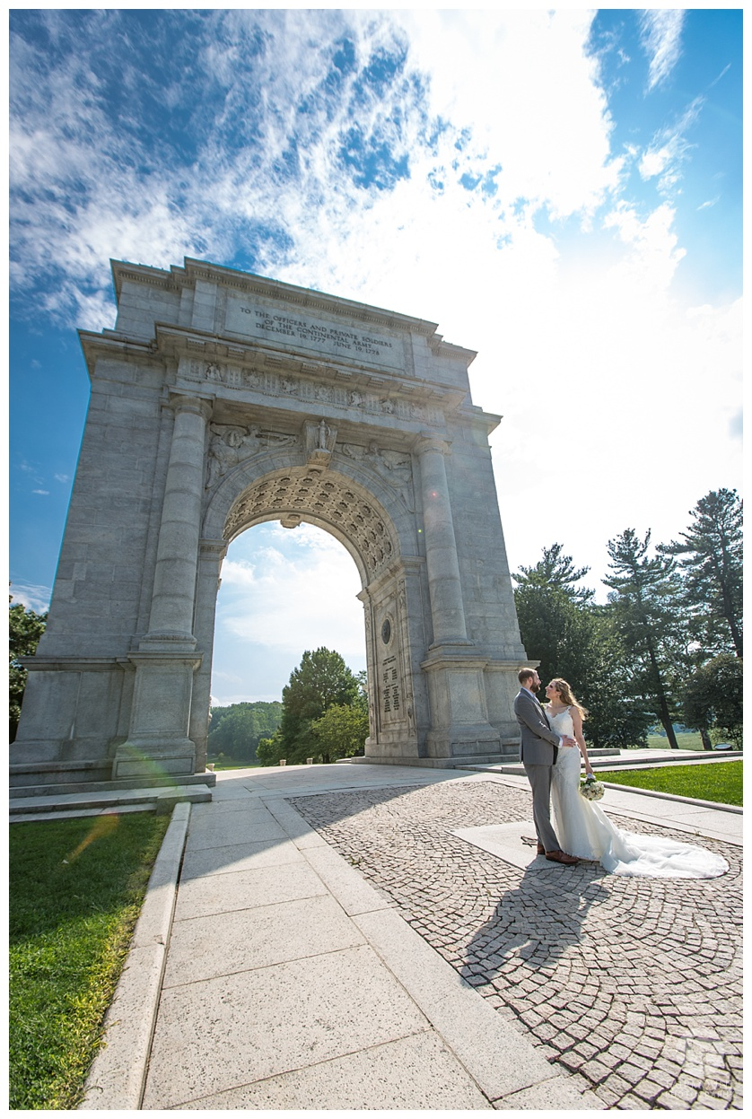 Columbia Station Wedding Bride and Groom Portraits at Valley Forge Park National Memorial Arch