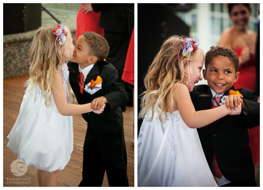 Little kids kissing.