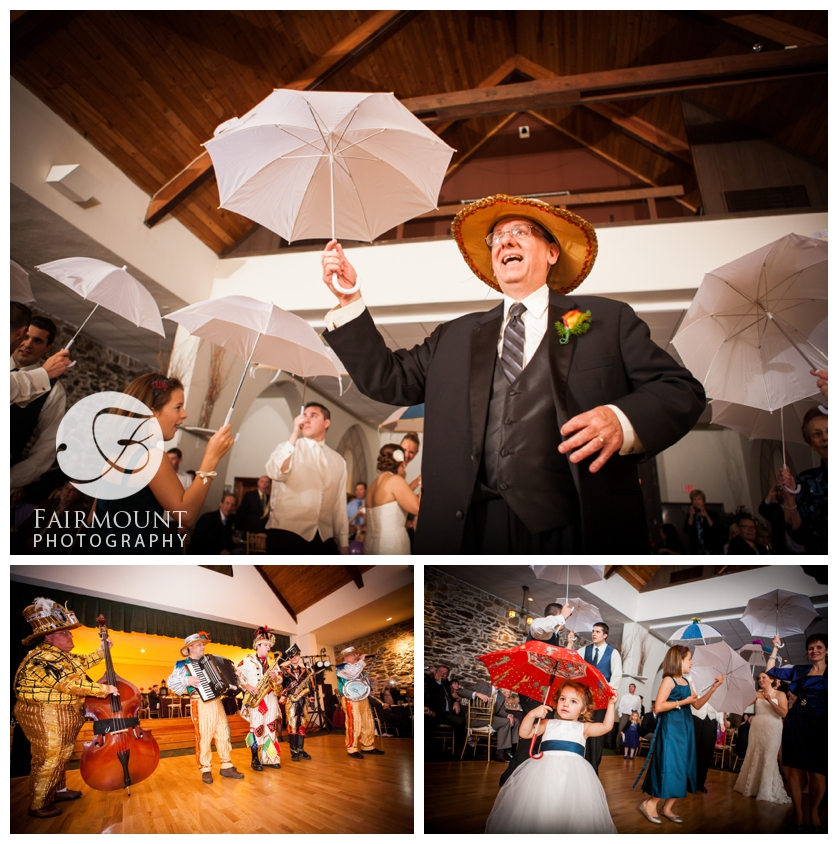 Mummers strut at wedding in the Old Mill
