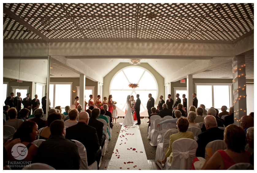 Wedding Ceremony in front of a big window