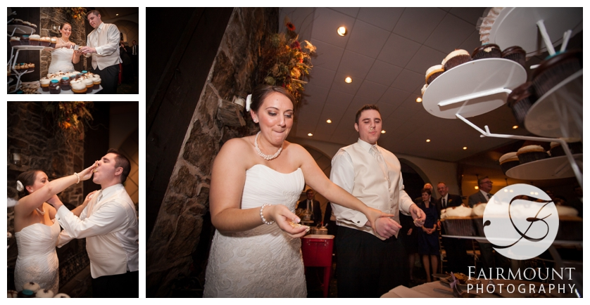Bride and Groom smash cupcakes during wedding