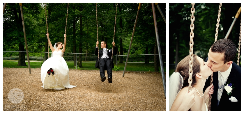 Bride and groom on swingset