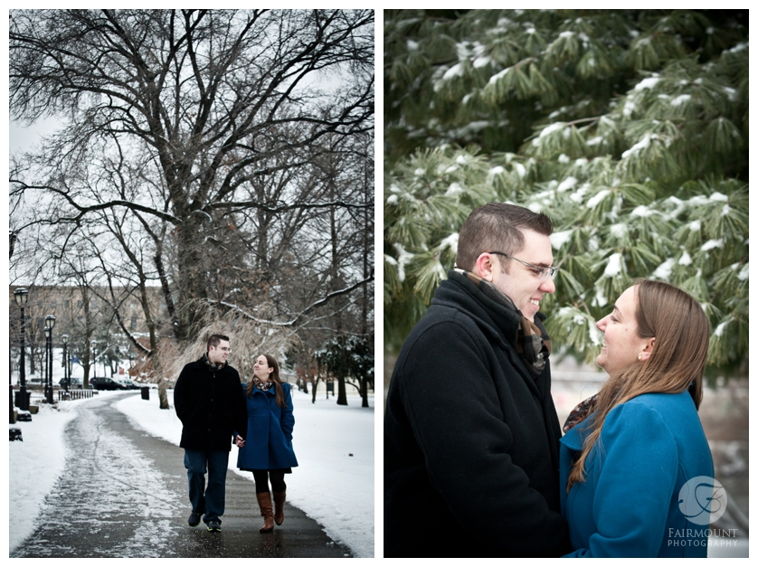 Snowy engagement portrait near Art Museum
