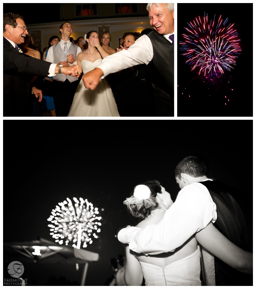 Surprise fireworks at wedding