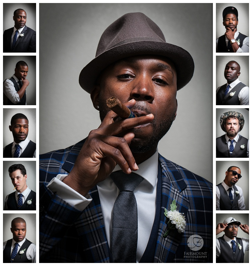 Dramatic groomsmen portraits