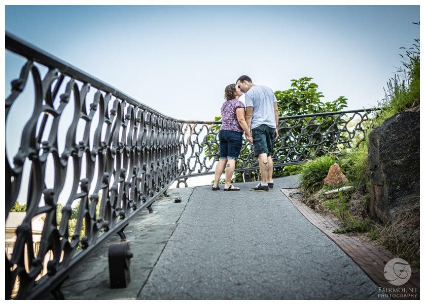 Engagement photo on the path behind the Art Museum in Philadelphia