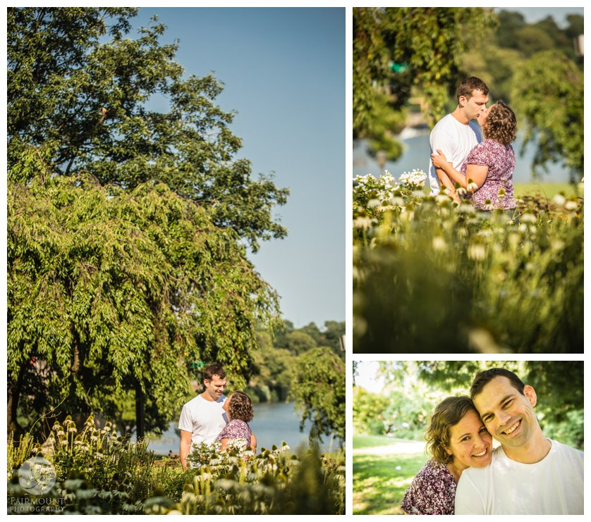 Engagement photos at the Azalea garden in Fairmount Park philadelphia