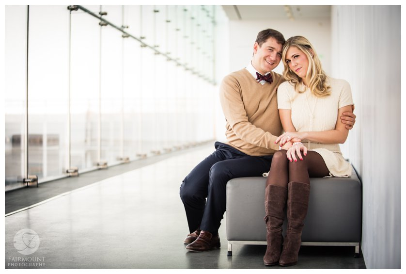 Engagement photos in the Founders Gallery at the ICA Boston