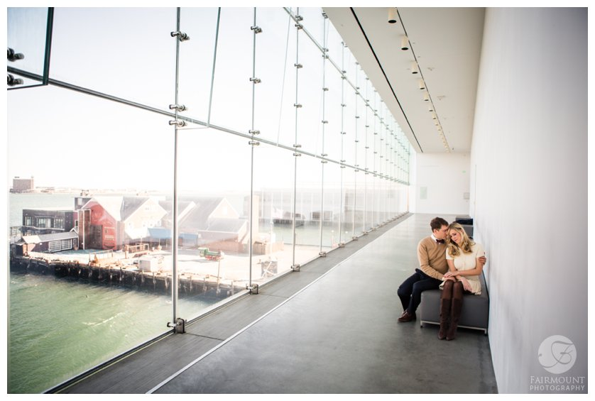 Engagement photos overlooking the Boston Harbor at the ICA