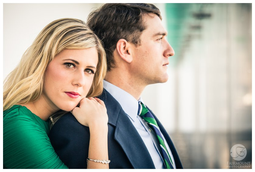 Emerald Green dress and navy suit for Boston ICA engagement photo session